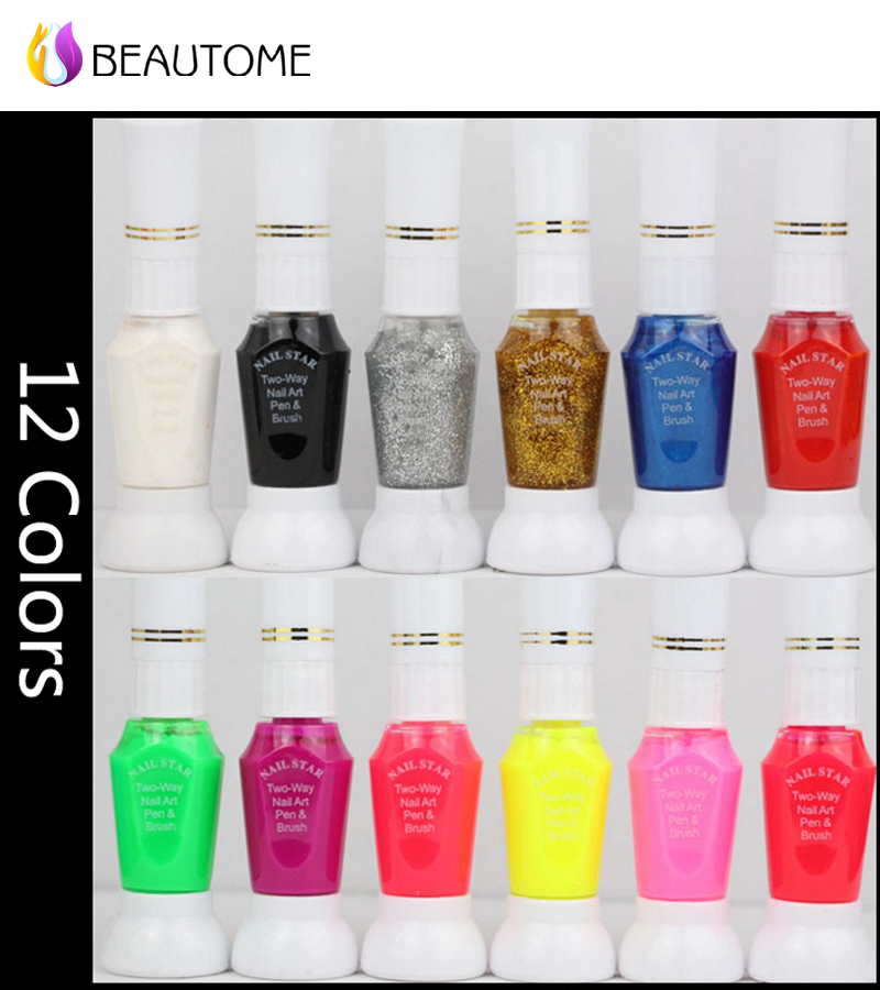 Nail Polish 12 Colors 3D Nail Art Paint Drawing Pen Top Quality Mixed Color Professional Beautiful Nail Art Decration Tools !(China (Mainland))