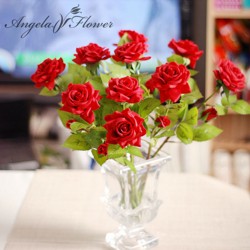 2 heads rose Artificial decorative silk Flowers Real Touch Home decorations Wedding bouquet flowers - Angela tan's store