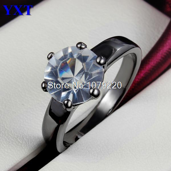 One Zircon Rings New Design Top Grade Fashion 18K Black Gold Crystal Creative Jewelry Women Party Birthday Wedding Brand Gift(China (Mainland))