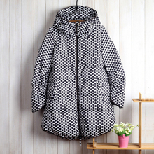2015 New Arrival Women Coat Long Sleeve Polka Dot Wide-waisted Thick Down & Parkas Plus size S-5XL winter coat High Quality