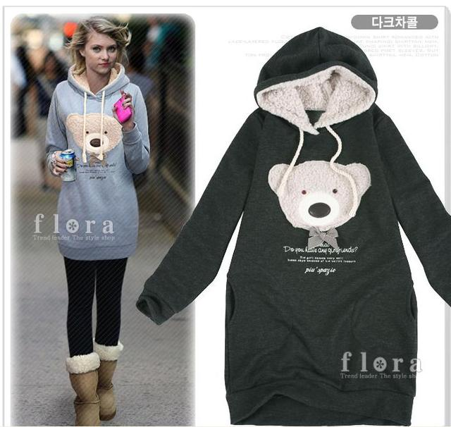 Free shipping  NEW Hoodie Long top pullover, Women's Winter coat, Cute teddy bear Hoodie casual outerwear
