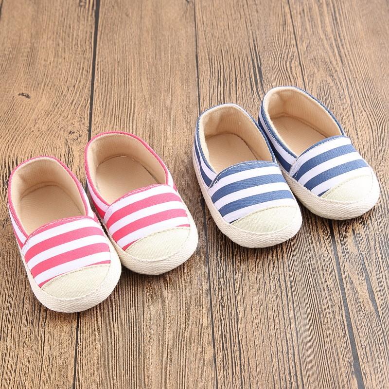New Fashion Newborn Baby Unisex Kids Prewalker Shoes Infant Toddler Crib Babe Girl Boy Soft Soled Stripe Loafer Ballet Flats(China (Mainland))