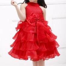 Azel 2016 New baby girl princess flower formal dress summer red fashion and cute kids clothes party clothing for girls SKF154022