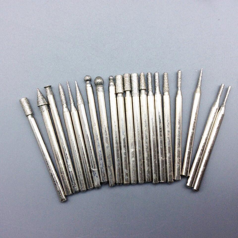 20pcs set diamond burrs tungsten burrs rotary tool drill bit grinding head dremel accessories bits