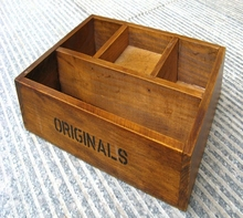 65616 100% Manual made Natural old Wooden Box with 4 lattices Antique style home decorative Inomata(China (Mainland))