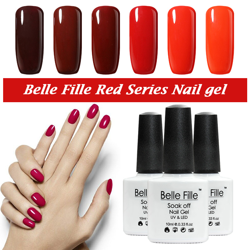 BELLE FILLE UV Gel Polish Varnish UV LED Red Color Gel 12 Colors for Choice Red Wine Series Nail Cosmetic Art Manicure(China (Mainland))