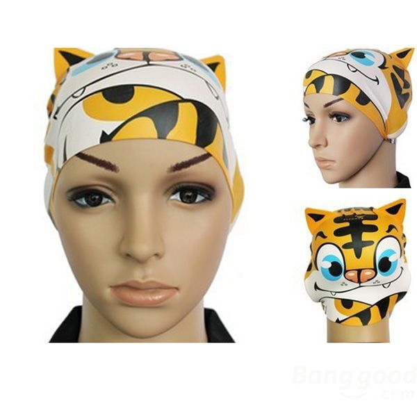 Dreamfire Children Silicone Animal Cartoon Swimming Cap Tiger Swimming Hat(China (Mainland))