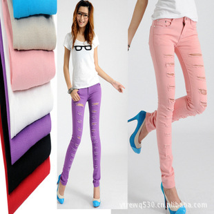 2013 New Women Cotton Denim Ripped Punk Cut-out Hole Skinny pants Jeans Jeggings Trousers pencil pants beggar frayed colors