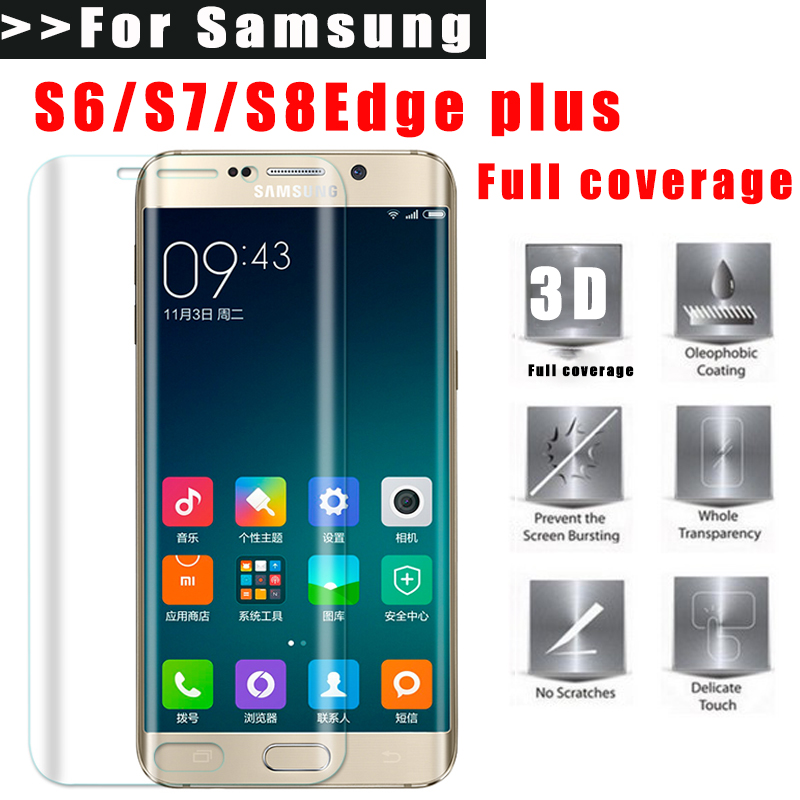 Full Coverage Screen Protector For Samsung Galaxy S6 S7 Edge Plus S8 Plus Curved screen TPU Film (Not Tempered Glass)(China (Mainland))