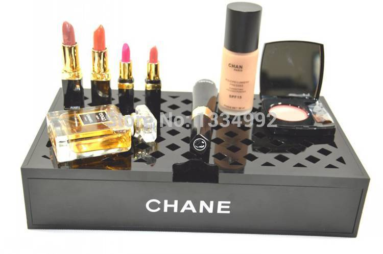 Top grade acrylic makeup cases black beauty cosmetic for Beauty table organiser