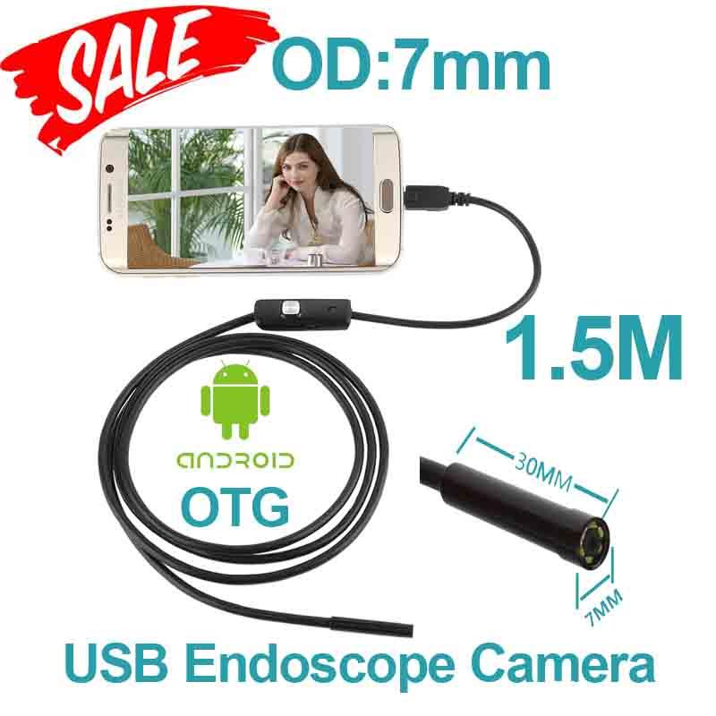 6pcs LED OTG USB Endoscope Camera 7mm OD 1.5m Smart Android Phone Endoscope Inspection Snake Tube Borescope Camera(China (Mainland))