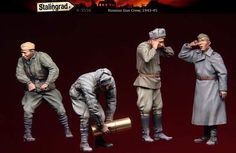 Free Shipping 1/35 Scale Resin Figure Russian Gun Crew 1943-45 4 figures(China (Mainland))