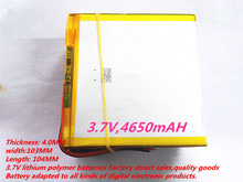 1PCS free shipping Tablet pc 3.7V,4650mAH (polymer lithium ion battery) Li-ion battery for tablet pc 10 inch 40103104(China (Mainland))