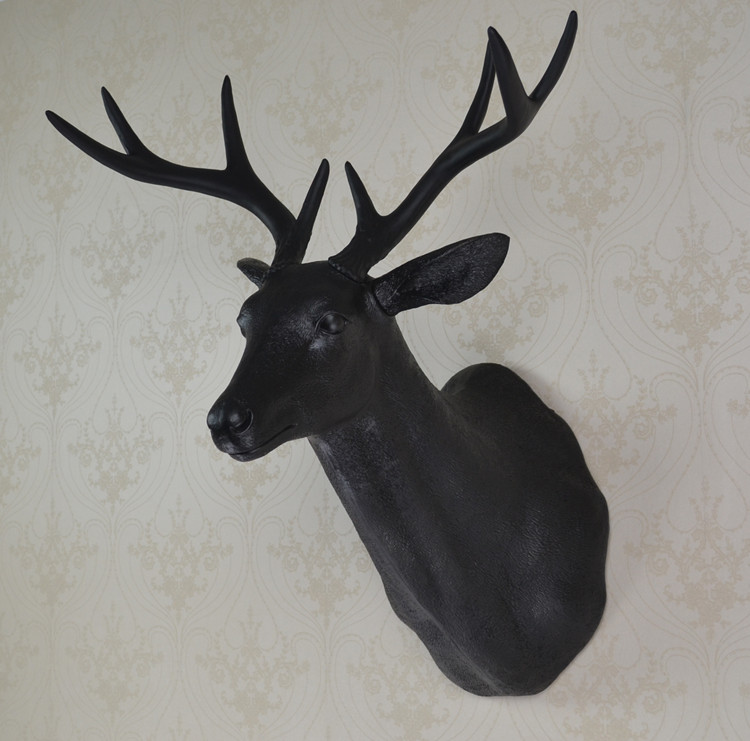 Full size wall mounted buck bust black deer head trophy wall art plaque hunt sculpture-faux taxidermy modern hanging(China (Mainland))