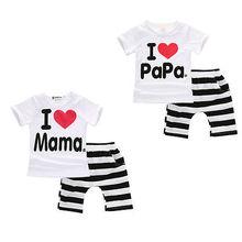 Newborn Baby Girls Boys Clothes Love Mama Papa Short Sleeve T-Shirt Tops and Striped Pant 2pcs Kid Children Clothing Set