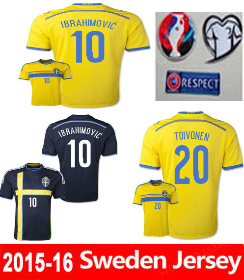 best quality!Free shipping ibrahimovic sweden jersey soccer jersey sweden soccer jersey Sebastian football jersey sweden 2015(China (Mainland))