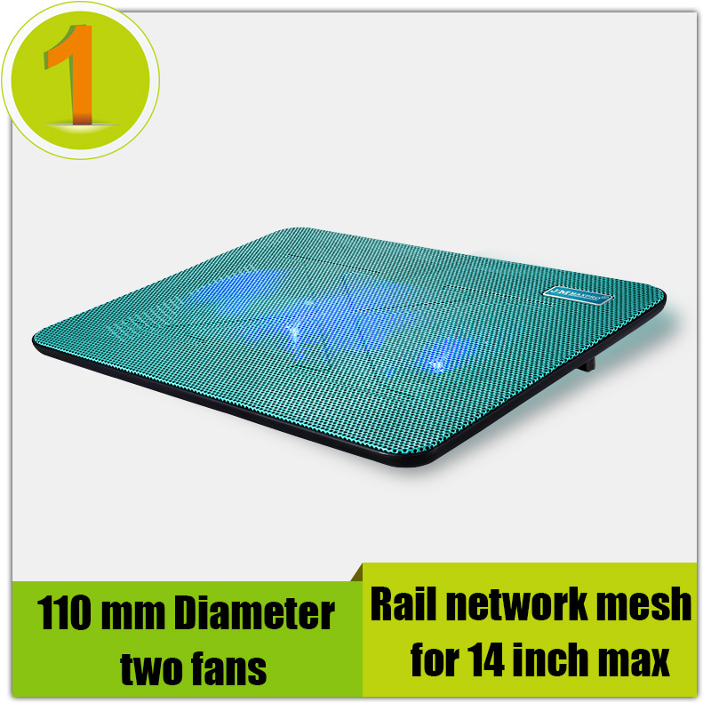 High quality laptop cooler pad 13&14 inch 2 fans for notebook,Rail network mesh Slim mute stand(Blue),General heatsink base(China (Mainland))