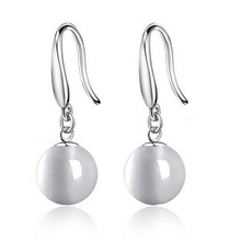 60% off Fashion Vintage  Hanging Dangle Women Earrings Brincos Accessoires Prata 925 Silver Cat's Eye Drop Earrings Ulove LC001(China (Mainland))