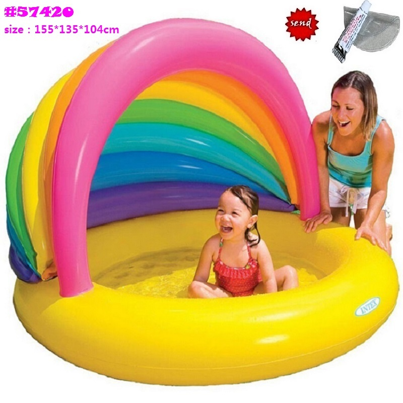 2016 Eco-friendly PVC Baby Kids Inflatable Swimming Pool Open Baby Playing Swimming Pool With Awning cover Ocean ball pool(China (Mainland))