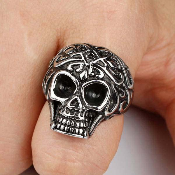New Arrival Stainless Steel Punk Rock Style Flower Skull Head Biker Finger Rings For Women And Men Band Jewelry Gift 2016 (A496)(China (Mainland))