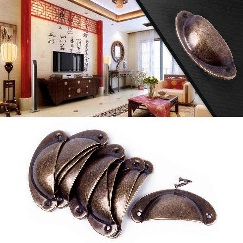 Hot SALE Kitchen Cupboard Door Cabinet Cup Drawer Furniture Antique Shell Pull Handle 12pcs #68124(China (Mainland))