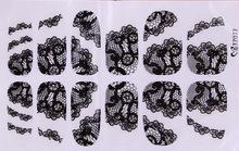 2015 New Black Lace Nail Stickers 5pcs lot 3d Rhinestone Full Cover Adhesive Art Foil Polish