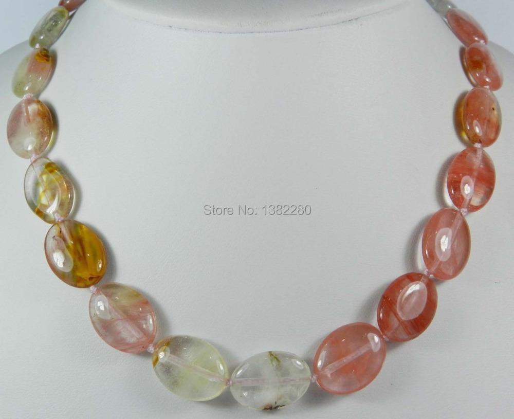 "Free shipping! fashion DIY jewelry 13x18mm Multicolored Watermelon Tourmaline Gems Oval Beads Necklace 18"" 2piece/lot jewelry(China (Mainland))"