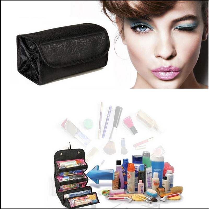 2016 New 1PC Black PVC Cosmetic Bag Large Capacity Storage Bag Hanging Folding Wash Bag High Quality EP205(China (Mainland))