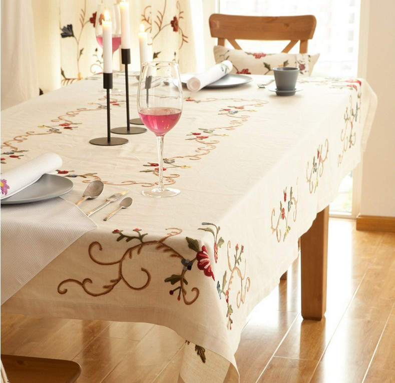 Free Shipping 180*135cm Cotton Linen Tablecloth Chinese Embroidery Flower Table Cloth For Weddings Party Decoration(China (Mainland))