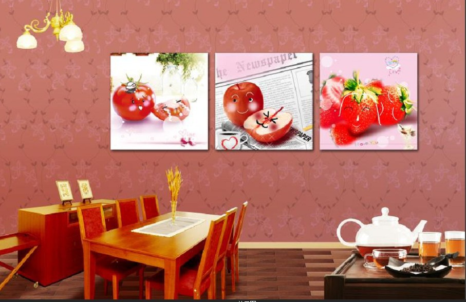 3Panels Free shipping Picture Painting Combination Modern Canvas Paint best life oil paintings of fruits Art Wall243(China (Mainland))