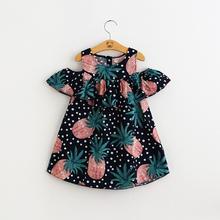 Baby girl summer short sleeve Pineapple printed strapless cotton dress girls Off Shoulder dress