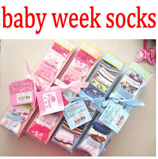 7 pairs / box HOT new cotton baby socks 0-6 months newborn baby infant cute baby socks a week 7 days with gift box packaging(China (Mainland))