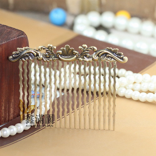 (10 pieces/lot) 20 fork 75*55mm flower base antique bronze brushed vintage hair combs base setting qy467(China (Mainland))