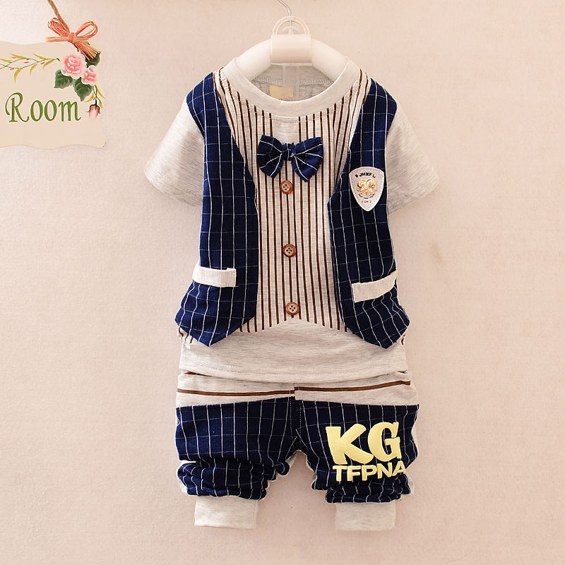 2015 summer style gentleman Fashion kids clothes boys summer sets toddler clothing set baby boy summer clothes children clothing(China (Mainland))