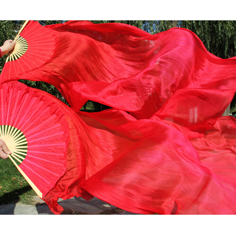 High Quality Silk Belly Dance Fan Red 100% Real Silk Veils Fans Left+Right 1pair Sale 180*90 cm Fast delivery(China (Mainland))