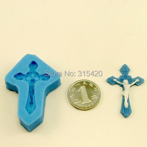 Nicole F0057s single 3D mini cross and Jesus fondant cake decoration silicone rubber molds(China (Mainland))