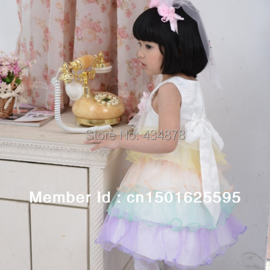 2015 NEW SALE ORGANZA LACE RAINBOW BABY CUTE DRESSES KIDS FLUFFY TULLE SASH DRESS CHILDREN BOW - Dongguan Jiahao Apparel & Fashion Co., Ltd store