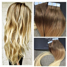 Full Shine Ombre Tape on Hair Extensions Balayage Tape Hair Extensions 8/613 Multi-color Tape in Human Hair Extensions Ombre