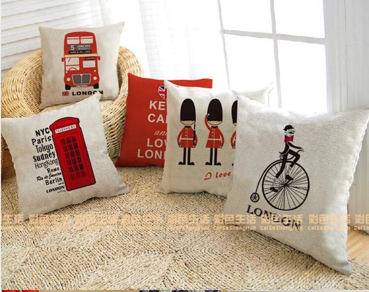 uk london phone booth bus models cotton linen cushion sofa Car Decorative pillows Multifunction pillows almofadas(China (Mainland))