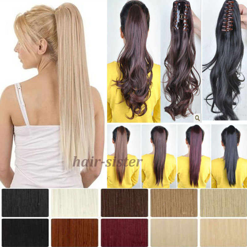 US SELLER Pony tail Hair Piece Clip in Pony tail Hair Extension Straight 21inches 53CM 6 Colors Claw Jaw Style Easy Attach(China (Mainland))
