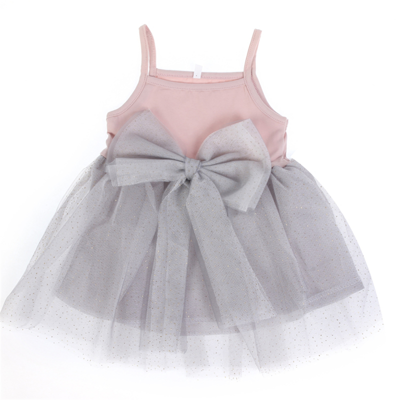 Summer Infant girls bow tutu dress Baby girls sling princess dress newborn baby's sequins birthday party dress(China (Mainland))