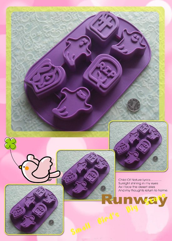 FDA food grade 6 holes Halloween gift ghost silicone cake mould/ soap mold/bakeware/gift/pastry/ice cream mould(China (Mainland))