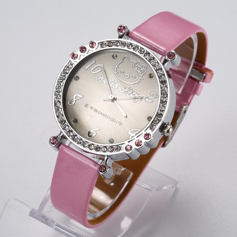 2016 Brand Hello Kitty Cartoon watch Women ultra slim mini leather straps girls hellokitty Watches fashion crystal Quartz watch(China (Mainland))