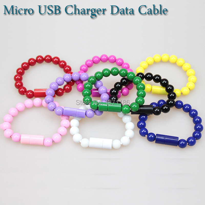 New style Acrylic Buddha Beads Bracelet Micro Usb Cable Usb data syn charger For samsung galaxy s3 s4 Android phone SmartPhone(China (Mainland))