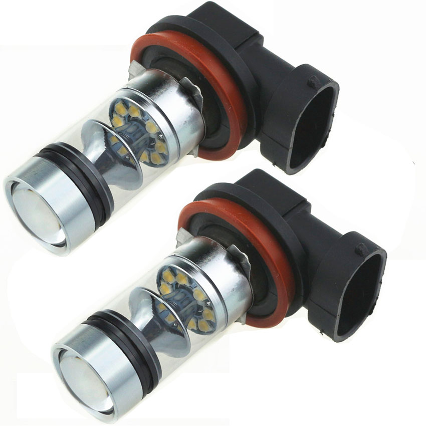 2pcs Car Led H11 100W Fog Lamps 20 SMD 6000K DC12V-24V 360 Degree Cree Bulbs Light Sourcing Driving Turning Parking(China (Mainland))
