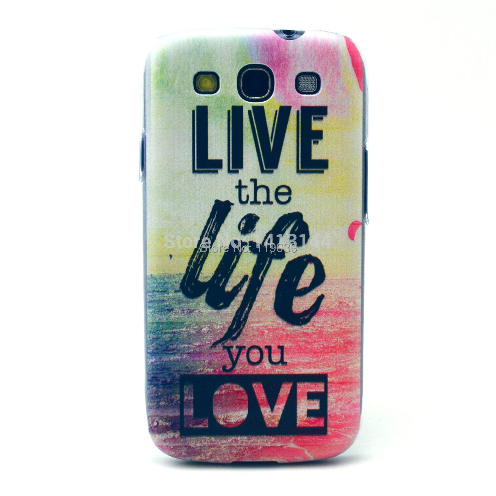 For Samsung Galaxy S3 SIII i9300 Case New Colorful Flower Painting Transparent Frame Hard PC Cell Phone Cases Cover S 3(China (Mainland))