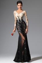 2017 Fashion Black and White Sequined Lace Mermaid Evening Dress Sexy V Neck Long Sleeve Vestido De Festa 2016 Formal Women(China (Mainland))
