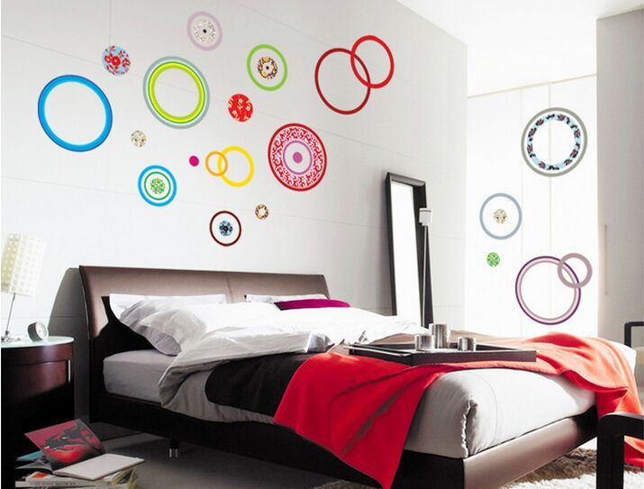 Free Shipping 60*90CM Hot Selling Colorful Circles DIY 3D Removable PVC Wall Sticker/Art Home Decoration Adhesive Sticker(China (Mainland))