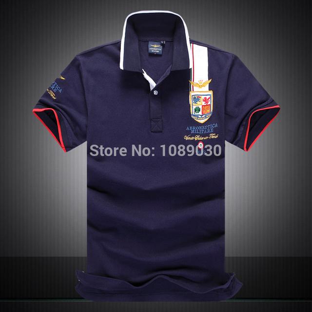 Бренд POLO Aeronautica Militare рубашка мужчины хлопок топы короткая свободного покроя ...