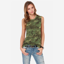 women clothes fashion Tops tank top ton clothes 2016 tide female models in Europe and America camouflage sleeveless  tx(China (Mainland))